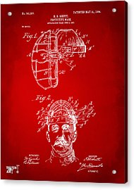 1904 Baseball Catchers Mask Patent Artwork - Red Acrylic Print by Nikki Marie Smith