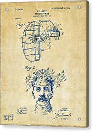 1904 Baseball Catchers Mask Patent Artwork - Vintage Acrylic Print by Nikki Marie Smith