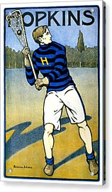 1905 - Johns Hopkins University Lacrosse Poster - Color Acrylic Print