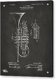 1906 Brass Wind Instrument Patent Artwork - Gray Acrylic Print