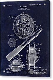 1906 Fishing Reel Patent Drawing Blue Acrylic Print