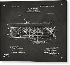 1906 Wright Brothers Flying Machine Patent Gray Acrylic Print by Nikki Marie Smith