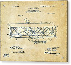 1906 Wright Brothers Flying Machine Patent Vintage Acrylic Print