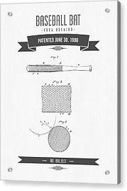1908 Baseball Bat Patent Drawing Acrylic Print by Aged Pixel