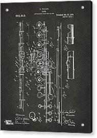 1908 Flute Patent - Gray Acrylic Print
