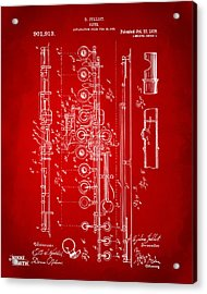 1908 Flute Patent - Red Acrylic Print