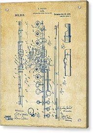 Acrylic Print featuring the digital art 1908 Flute Patent - Vintage by Nikki Marie Smith