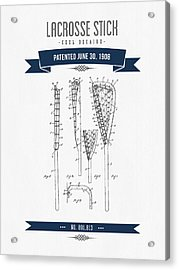 1908 Lacrosse Stick Patent Drawing - Retro Navy Blue Acrylic Print by Aged Pixel