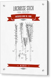 1908 Lacrosse Stick Patent Drawing - Retro Red Acrylic Print by Aged Pixel