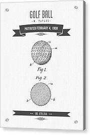 1908 Taylor Golf Ball Patent Drawing - Retro Gray Acrylic Print by Aged Pixel