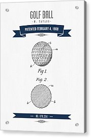1908 Taylor Golf Ball Patent Drawing - Retro Navy Blue Acrylic Print by Aged Pixel