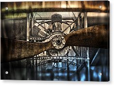 1909 Biplane Engine And Propeller Acrylic Print