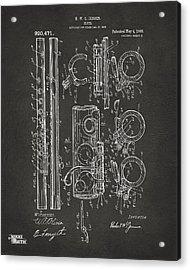 1909 Flute Patent - Gray Acrylic Print