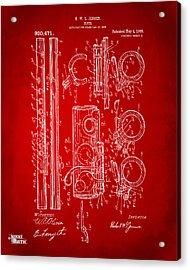 1909 Flute Patent In Red Acrylic Print