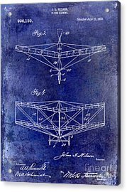 1909 Flying Machine Patent Drawing Blue Acrylic Print