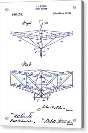 1909 Flying Machine Patent Drawing Blueprint Acrylic Print