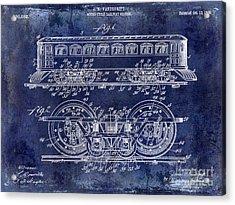 1909 Railway System Patent Drawing Blue Acrylic Print