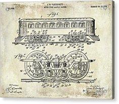 1909 Railway System Patent Drawing  Acrylic Print