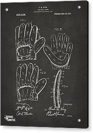 1910 Baseball Glove Patent Artwork - Gray Acrylic Print