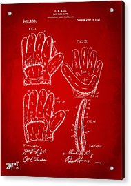 1910 Baseball Glove Patent Artwork Red Acrylic Print by Nikki Marie Smith
