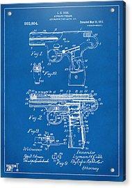 1911 Automatic Firearm Patent Artwork - Blueprint Acrylic Print by Nikki Marie Smith