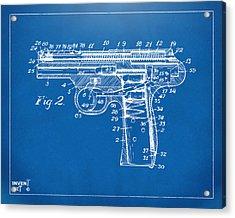 1911 Automatic Firearm Patent Minimal - Blueprint Acrylic Print by Nikki Marie Smith