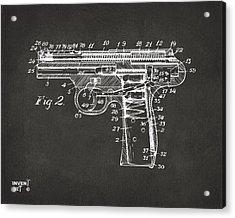 1911 Automatic Firearm Patent Minimal - Gray Acrylic Print by Nikki Marie Smith