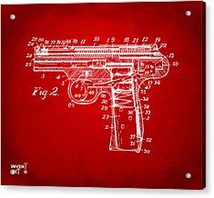 1911 Automatic Firearm Patent Minimal - Red Acrylic Print by Nikki Marie Smith