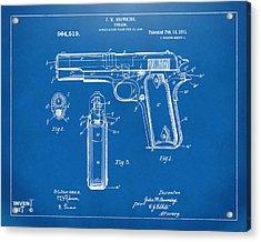 1911 Colt 45 Browning Firearm Patent Artwork Blueprint Acrylic Print by Nikki Marie Smith