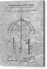 1912 Umbrella Patent Charcoal Acrylic Print