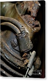 Acrylic Print featuring the photograph 1913 Michaelson Ohv Twin Motorcycle Engine by Wilma  Birdwell