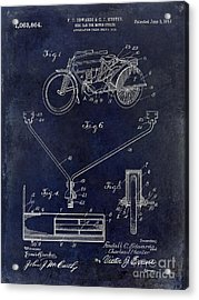 1913 Motorcycle Patent Drawing Blue Acrylic Print
