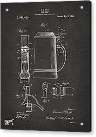 1914 Beer Stein Patent Artwork - Gray Acrylic Print