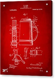 1914 Beer Stein Patent Artwork - Red Acrylic Print by Nikki Marie Smith