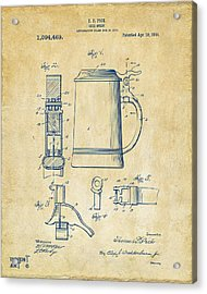 1914 Beer Stein Patent Artwork - Vintage Acrylic Print
