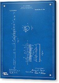 1914 Flute Patent - Blueprint Acrylic Print