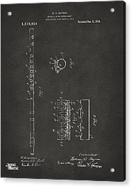 1914 Flute Patent - Gray Acrylic Print