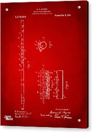 1914 Flute Patent - Red Acrylic Print