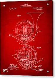 1914 French Horn Patent Art Red Acrylic Print