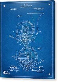 1914 French Horn Patent Blueprint Acrylic Print