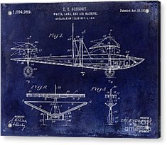 1914 Water Land And Air Machine Patent Blue Acrylic Print