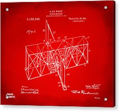 Acrylic Print featuring the drawing 1914 Wright Brothers Flying Machine Patent Red by Nikki Marie Smith