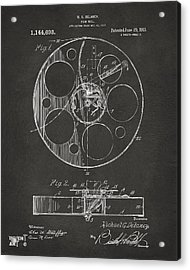 1915 Movie Film Reel Patent Gray Acrylic Print