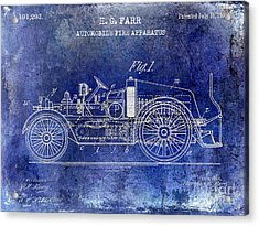 1916 Automobile Fire Apparatus Patent Drawing Lt Blue Acrylic Print
