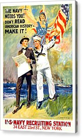 1917 - United States Navy Recruiting Poster - World War One - Color Acrylic Print