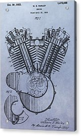 1919 Harley Davidson Engine Patent Acrylic Print by Dan Sproul