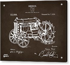 Acrylic Print featuring the drawing 1919 Henry Ford Tractor Patent Espresso by Nikki Marie Smith
