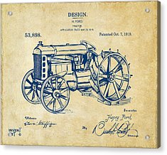 1919 Henry Ford Tractor Patent Vintage Acrylic Print