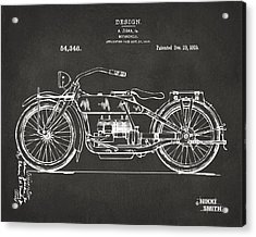 Acrylic Print featuring the digital art 1919 Motorcycle Patent Artwork - Gray by Nikki Marie Smith