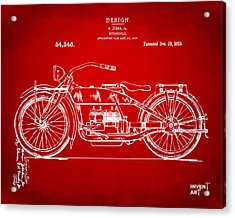 1919 Motorcycle Patent Red Acrylic Print by Nikki Marie Smith